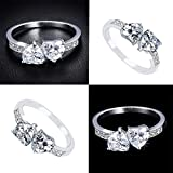 Sumanee HOT Women New Gift Good Shiny Solid Zircon Heart Shaped Ring Silver Plated (9)