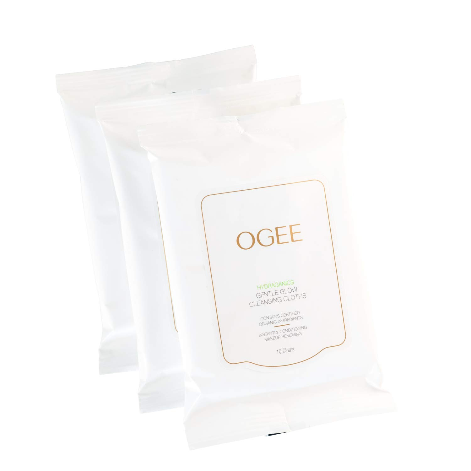 Ogee Gentle Glow Facial Cleansing Cloths - Organic & Natural Make-Up Removing Moisturizing Face Wipes with Jojoba Seed Oil - 30 Wet Cloths (3 Packs of 10)