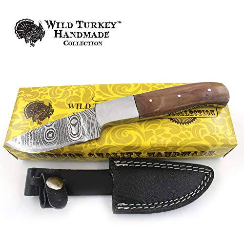 Wild Turkey Handmade Collection 8.25″ Full Tang Fixed Blade Hunting Knife w/Leather Sheath