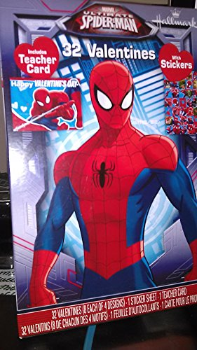 Spiderman 32 Valentine Classroom Trading Cards With Stickers & Includes A Teachers Card