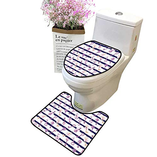 (2 Piece Bathroom Mat Pedestal Rug Bath Mat Old Medieval V Tage Keys Diam ds Striped Pattern French Style Purple Contour Toilet Mat and Toilet lid)