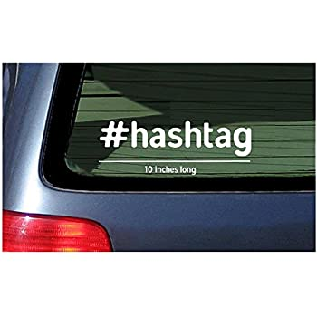 Hashtag white sticker window decal vinyl customized personalized your hash tag text custom lettering
