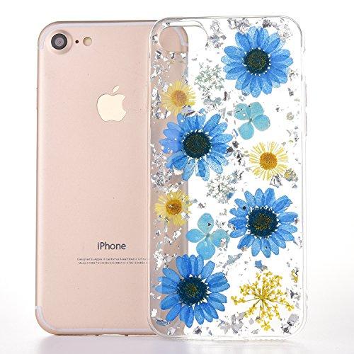 Caso del iPhone 6sPlus, Caso Suave del iPhone 6Plus, YFZYT Ultra Delgado 3D Colorida Caja de Flores Secas Naturales, Contraportada Protectora Crystal Clear Anti-Scratch para 5.5 Pulgadas Apple iPhone  Margarita Azul