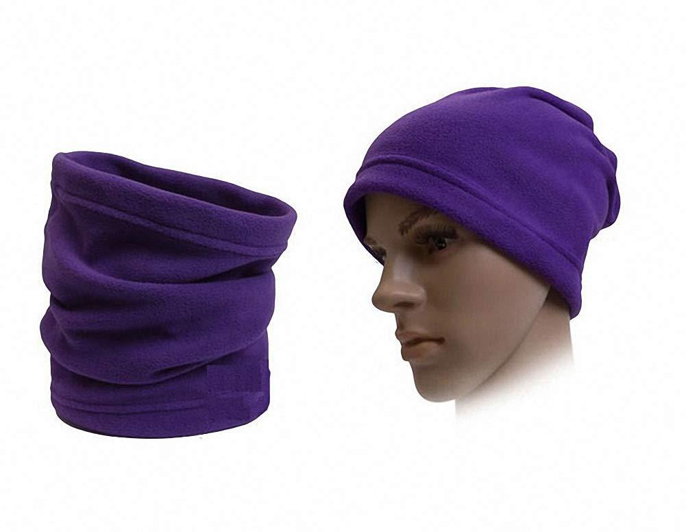 2 IN 1 Unisex Infinity Scarf Hat Fleece Outdoor Cycling Warm Headgear (Purple)