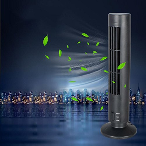 Mini Air Fan,DEESEE(TM) New Mini Portable USB Cooling Air Conditioner Purifier Tower Bladeless Desk Fan (Black)