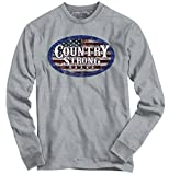 Country Strong Brand Logo American Flag Oval Patriotic Western Long Sleeve T-Shirt