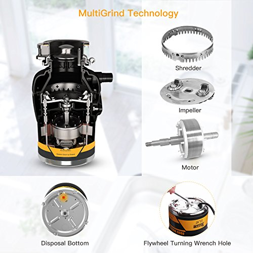Garbage Disposal TECCPO 1/2 HP Disposal 38 oz. Capacity with Power Cord - TAGD01P by TECCPO (Image #4)