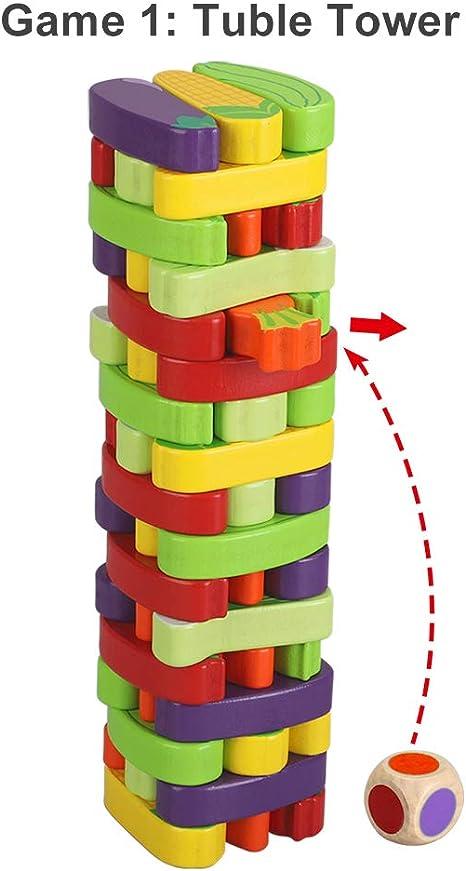 BeebeeRun Juego de Torre de Bloques de Madera,Juegos de Mesa Niños Adulto,Juego niño 3 años más: Amazon.es: Juguetes y juegos