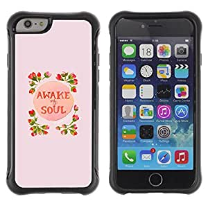 Suave TPU Caso Carcasa de Caucho Funda para Apple Iphone 6 PLUS 5.5 / Awake Soul Inspiring Spring Flowers Peach / STRONG