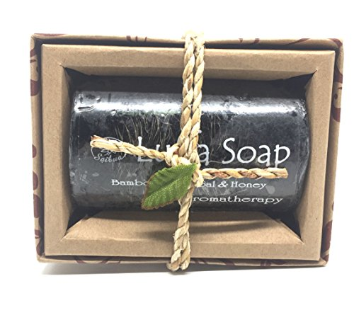 Saibua Handmade Thai Herbal Bamboo Charcoal  Honey Scrub Luffa Soap 1 Bar x 100 g by Triple W Shop