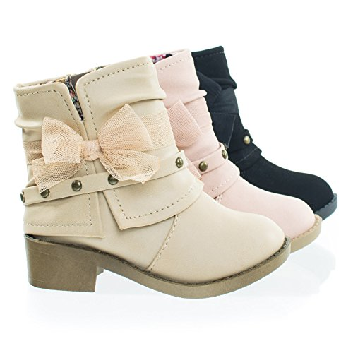NikkiIIsq Blond Infant Toddler Girl Ankle Bootie w Side Slit, Belt & Mesh Bow ()