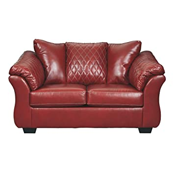 Marvelous Signature Design By Ashley Betrillo Faux Leather Loveseat Salsa Red Evergreenethics Interior Chair Design Evergreenethicsorg