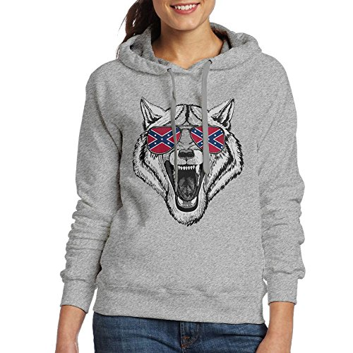 Wolf Dog Wearing Glasses With National Flag Women's Outerwear,Long Sleeve Hoodie For Woman (Springs Day Christmas Eureka)