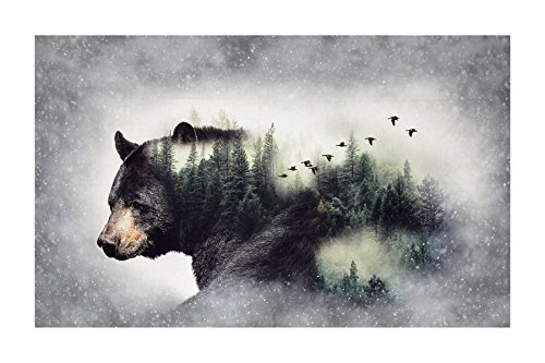 Hoffman Fabrics Call Of The Wild Digital 27inPanel Bear Forest Fabric