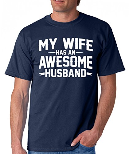 SignatureTshirts Men's My Wife Has an Awesome Husband T-Shirt L Navy Blue
