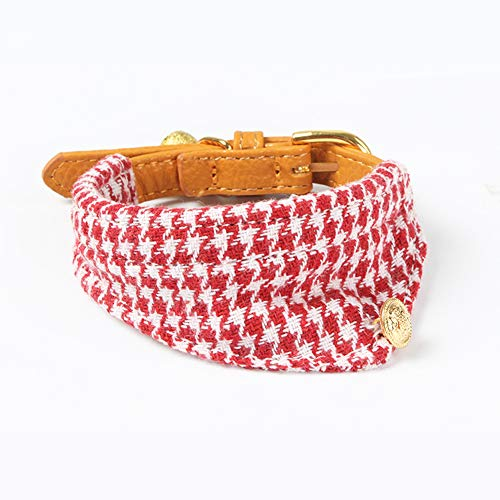 PetFavorites Small Dog Costume Collar - Houndstooth Bowtie Kitten Bandana Collar for Halloween - Teacup Yorkie Chihuahua Clothes Outfits Accessories, Adjustable & Handmade (Red Houndstooth Bandana)