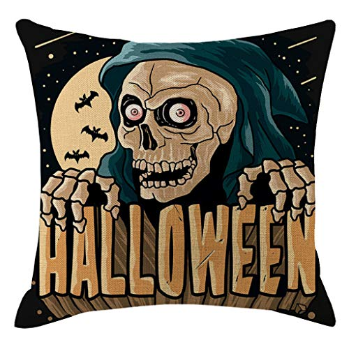 Jessie storee Throw Pillow Case Happy Halloween Pumpkin Horror Decoration Cotton Blend Throw Pillowcase Cushion Cover for Room Bedroom Sofa Chair Car, 18 x 18 inch, 45 x 45 cm, X -