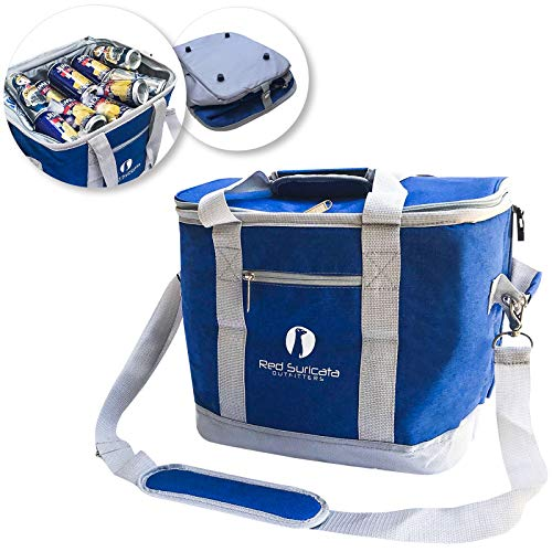 Red Suricata Collapsible Cooler Bag - Large Insulated Soft Cooler Bag for 50 Cans - Keeps Cool for 6 Hours - 30L Portable Cooler Bags Insulated - Soft Sided Travel Cooler (Heathered Navy Blue/Grey)