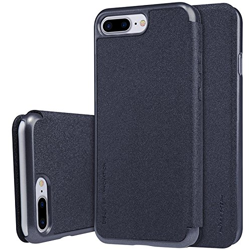 Nillkin Case for Apple iPhone 8 Plus (5.5″ Inch) Sparkle Leather Flip Folio Book Type PC Black Color