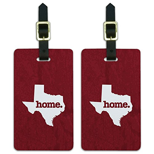 (Texas TX Home State Luggage Suitcase ID Tags Set of 2 - Textured Maroon)