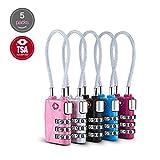 TSA Lock Cable 5 Pcs - Backpack Travel Lock Security Luggage Locks 3-Digit Combination Padlock (Black,Red,Pink,Silver, Blue)