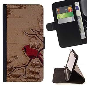 Momo Phone Case / Flip Funda de Cuero Case Cover - Art Red Bird Branch Fairytale - Sony Xperia Z2 D6502