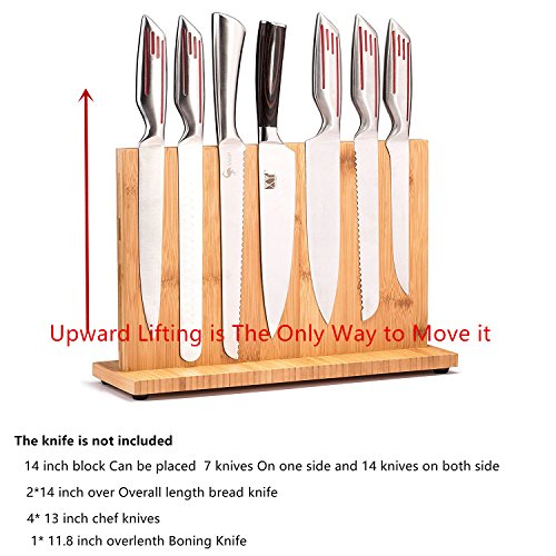 Bamboo Knife Blocks,Knife Block rack magnetic, Double side super magnetic,Non-slip design,8 inch,12inch,14inch,Different sizes for your selection Without Knives (14 inch) by non branded (Image #2)