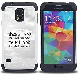 GIFT CHOICE / Defensor Cubierta de protección completa Flexible TPU Silicona + Duro PC Estuche protector Cáscara Funda Caso / Combo Case for Samsung Galaxy S5 V SM-G900 // BIBLE Thank God - Trust God //