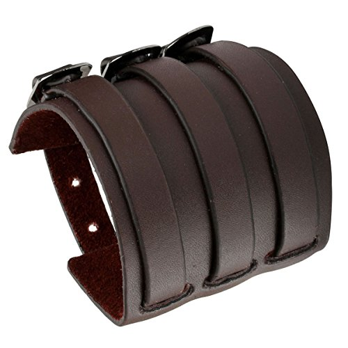 (Eigso 3Layers Brown Retro Rock Wide Belt Leather Bracelet Gothic Fastening Buckle Wristband for Men Women)