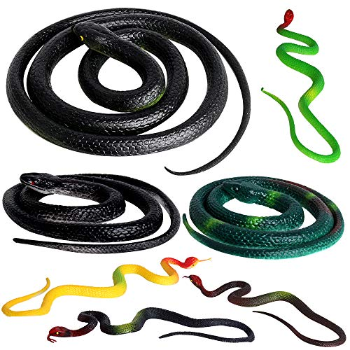 Outee 7 Pcs Realistic Rubber Snakes, Fake Snakes Black Snake Toys for Garden Props to Scare Birds, Squirrels, Scary Gag Rubber Lifelike Snakes Pranks and Halloween Decoration