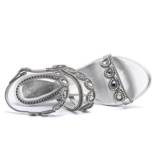 Flores Bomba Abierta Zhang8 Mujeres silver Silver Vestido Banquete Hueco Talón Punta 35 Sandalias Cuero Rhinestone rq4tzwx4n