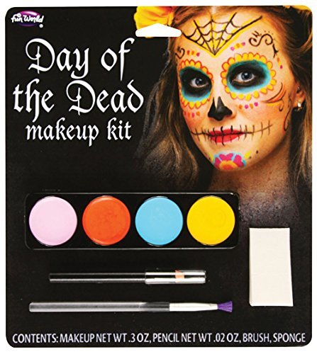 Ladies Mens Girls Boys Day of The Dead Sugar Skull Face Paints Multi Coloured Make Up Fancy Dress Costume Outfit -