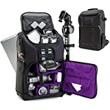 Digital SLR Camera Backpack (Purple) with 15.6 Laptop Compartment by USA Gear features Padded Custom Dividers , Tripod Holder , Rain Cover and Storage for DSLR Cameras by Nikon , Canon , Sony & More
