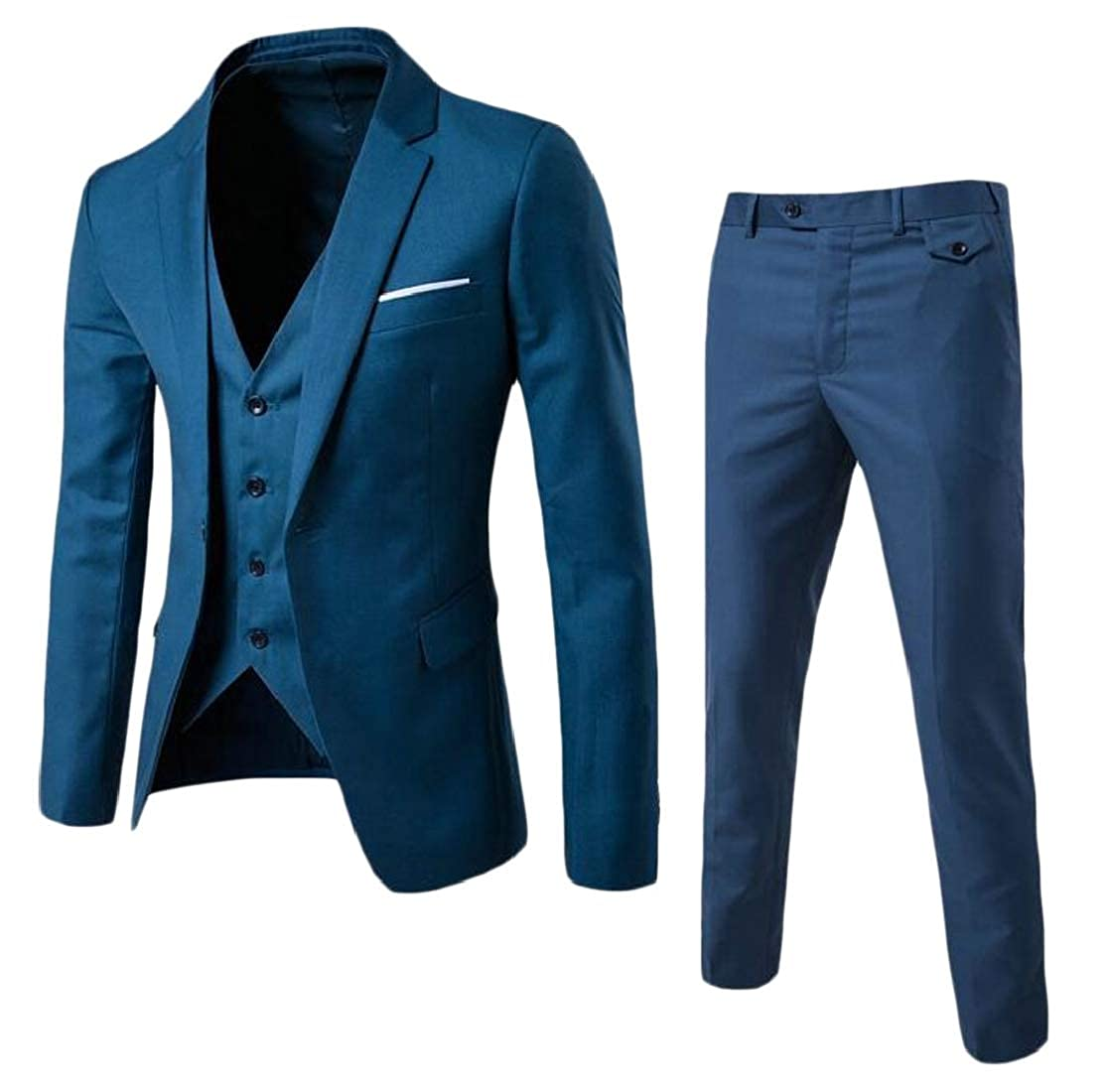 H/&E Mens Groomsmen Wedding Party Three Piece Business Groom Suit Sets