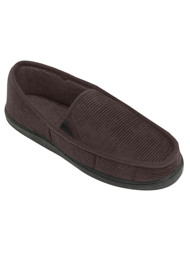 KingSize Men's Big & Tall Cotton Corduroy Slippers, Dark Brown 11W