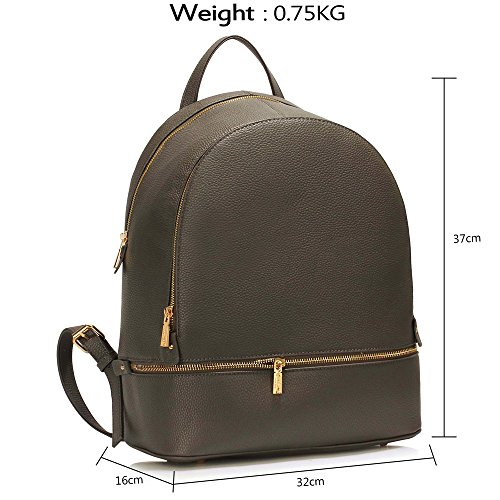 Backpack Bags Womens Travel Fashion Design Ladies New School 1 Leather Rucksack Large Grey 4dqzzwIx5