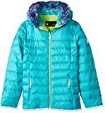 Spyder Girl's Timeless Faux Fur Hoody Down Jacket, Baltic, X-Large