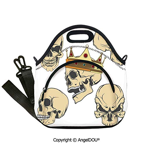 AngelDOU Skull Decor portable thickening insulation tape Lunch bag Skulls Different Expressions Evil Face Crowned Death Monster Halloween for women Portable Insulated lunch box b12.6x12.6x6.3(inch)]()