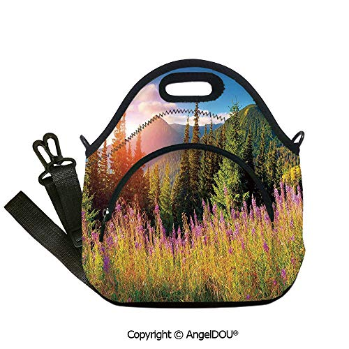 AngelDOU Landscape portable thickening insulation tape Lunch bag Fall Landscape Picture in Mountains with Flowers Alpine Trees Forest at Sunrise lunch bag for Employee student Wo12.6x12.6x6.3(inch)