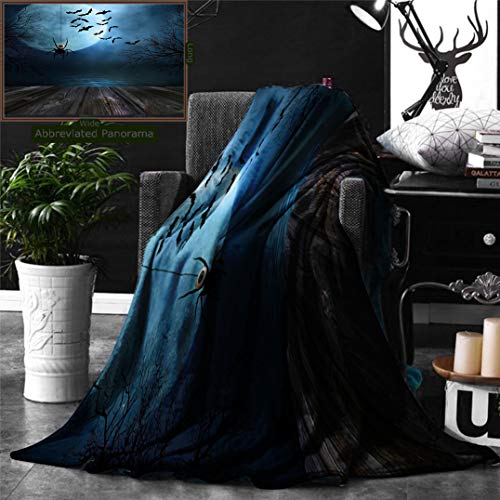 Ralahome Unique Custom Double Sides Print Flannel Blankets Halloween Decorations Misty Lake Scene Rusty Wooden Deck Spider Eyeball Ba Super Soft Blanketry Bed Couch, Twin Size 70 x 60 -