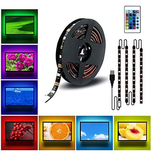DDeLi LED Strip Lights 6.56ft USB TV Backlight DC 5V RGB Strip Lights for 40 to 60 in HDTV Desktop PC Neon TV Lights Bias Lighting with 24 Key Remote USB Car Strip Light