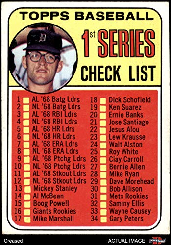 1969 Topps # 57 xCLR Checklist 1 Denny McLain (Baseball Card) (Collar Not Visible & Dot After S in USA is Present) Dean's Cards 3 - VG