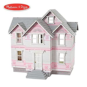 "Melissa & Doug Victorian Dollhouse (Dolls & Dollhouses, Detailed Illustrations, Sturdy Wooden Construction, 29.5"" H x 28"" W x 18"" L)"