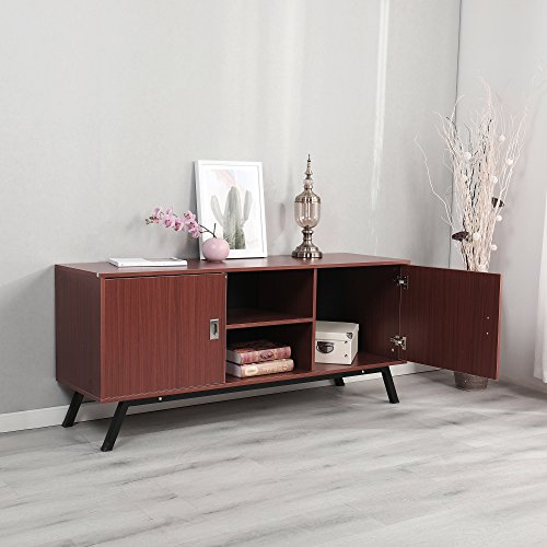 Dland TV Stand 59'', Composite Wood Board, 2-Shelf & 2-Cube & 2-Door Entertainment Center Console Storage Cabinet for Living Room Bedroom, WK-GZ003-RM Red-Maple, 1 Pack by Dland (Image #4)