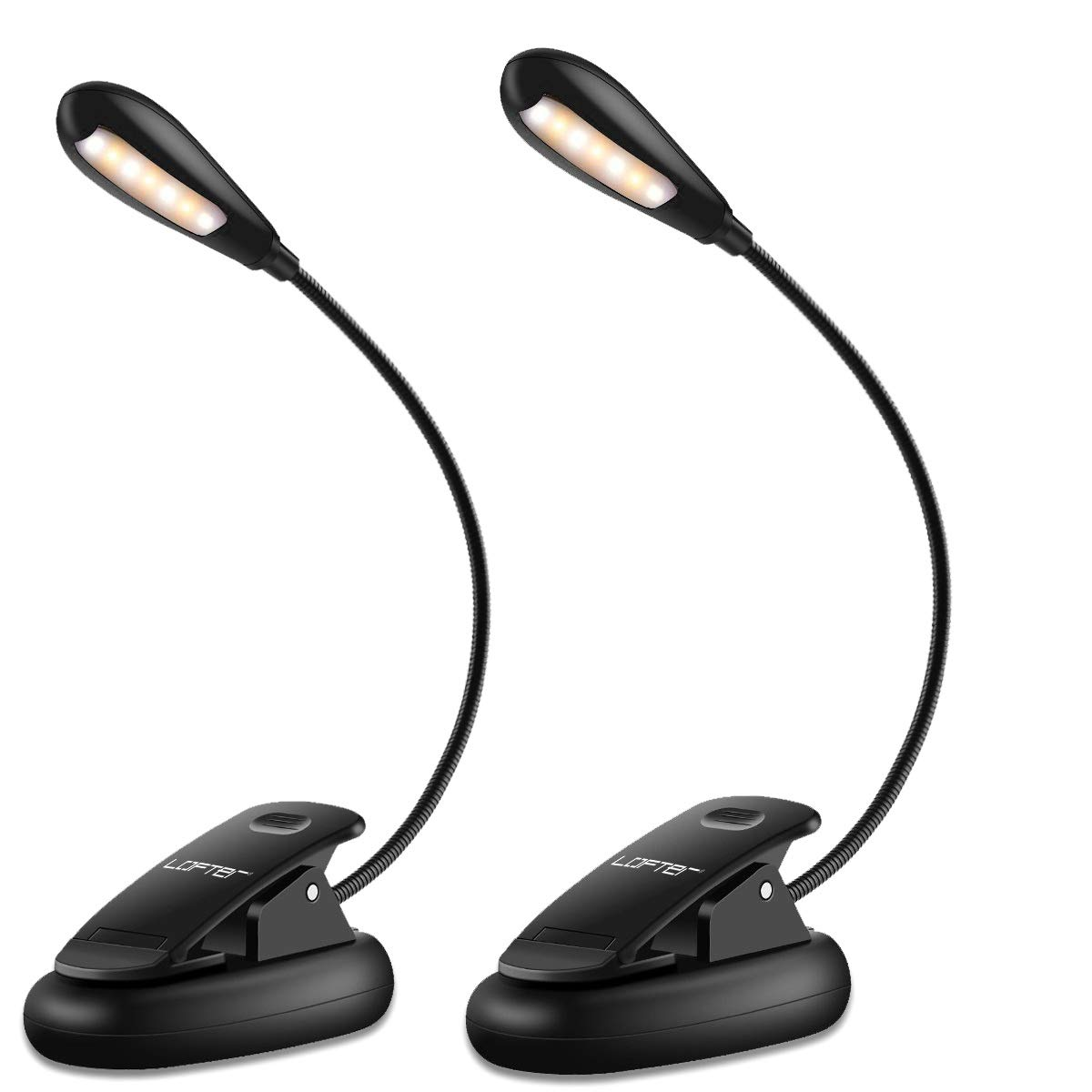 Reading Light 7 LED Rechargeable Book Light, 9-Level Warm & White Brightness, Flexible Clip on Reading Lamp for Books in Bed (2 Pack)