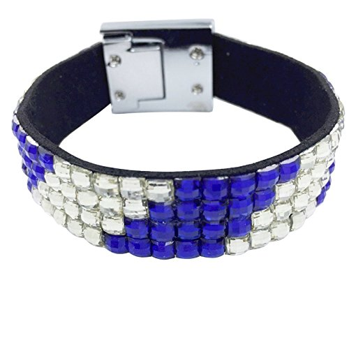 Gypsy Jewels Bling Gem Stripe Multi Color Strap Clasp Wrap Bracelet (Royal Blue & Clear)