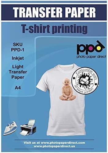 PPD A4 Papel De Transferencia Térmica Para Camisetas y Tejidos Blancos o Claros, 10 Hojas - PPD-1-10