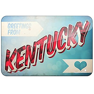 Metal Sign Greetings from Kentucky, Vintage Postcard, Small 12x18 Inch Metal Tin Sings