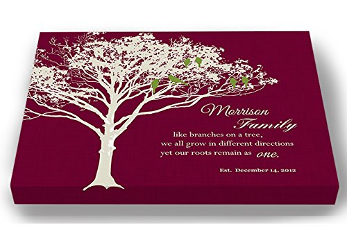 MuralMax - Personalized Family Tree Canvas & Lovebirds, Romantic Lovebirds & Inspirational Quote Wall Decor - Gifts for Parents Wedding Anniversary Milestone, Grandparents, Burgundy - Size 10 x 8