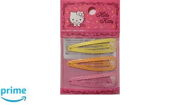 67d3bcbb9 Amazon.com : Sanrio Hello Kitty Hair 3-pin Accessories Barrette Yellow  Orange Pink 3pcs Set : Beauty